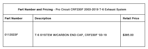 200713 Pro Circuit 2003-2019 CRF230F T-6 Exhaust - Part-Number-Pricing-R-1