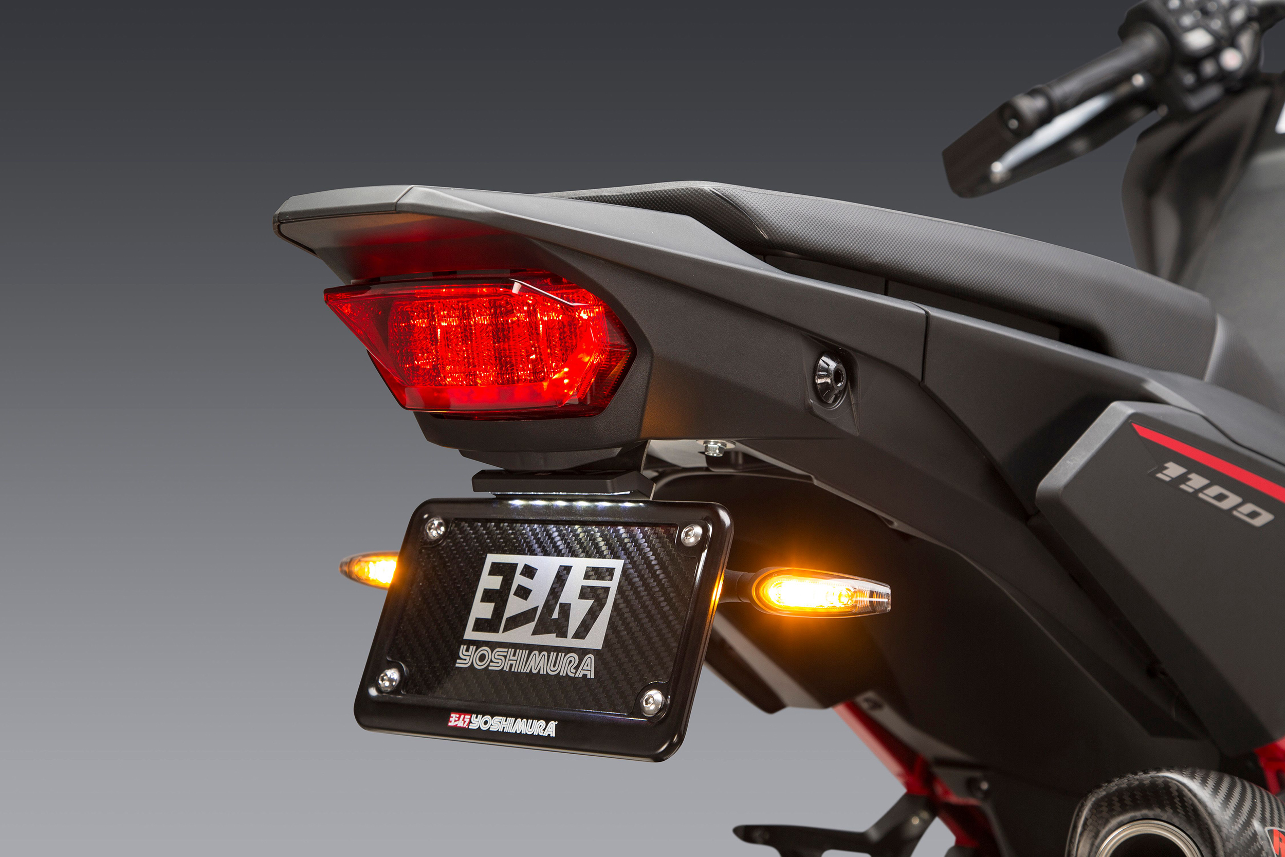 2020 Honda Africa Twin with our Fender Eliminator Kit shown with optional Yoshimura LED turn signals
