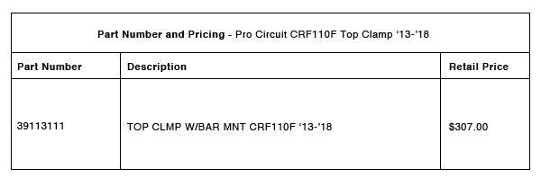 200812 Pro Circuit 2013-2018 CRF110F Top Clamp and Bar Mount - Part-Number-Pricing-R-1