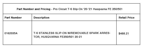 200826 Pro Circuit 2020-2021 Husqvarna FE 350:501 T-6 Slip-On - Part-Number-Pricing-R-1