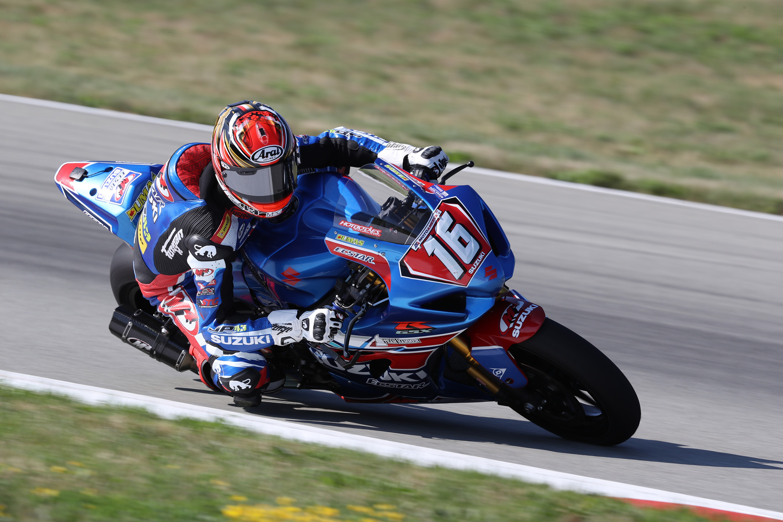 Alex Dumas (#16) nearly won the first Stock 1000 race and made his Superbike debut