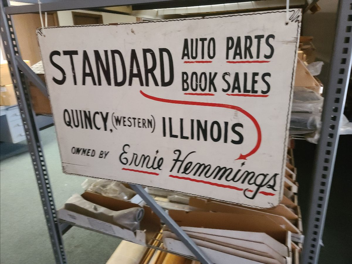 200901 Ernie Hemmings' Business Sign- Standard Auto Parts, Quincy, Illinois, Ernie Hemmings' Pressboard Sign (Lot 550)