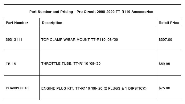 200901 Pro Circuit 2008-2020 TT-R110 Accessories - Part-Number-Pricing-R-3
