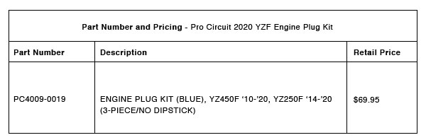 200914 Pro Circuit 2020 YZ250F:YZ450F Engine Plug Kit Part-Number-Pricing-R-1