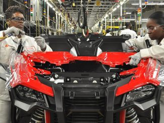 Honda associates putting the finishing touches on one of Honda's new Talon side-by-sides