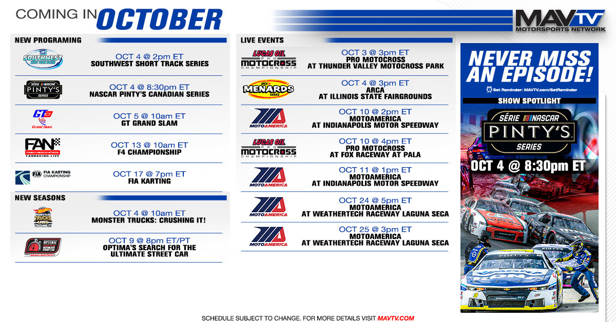 MAVTV October Broadcast Schedule