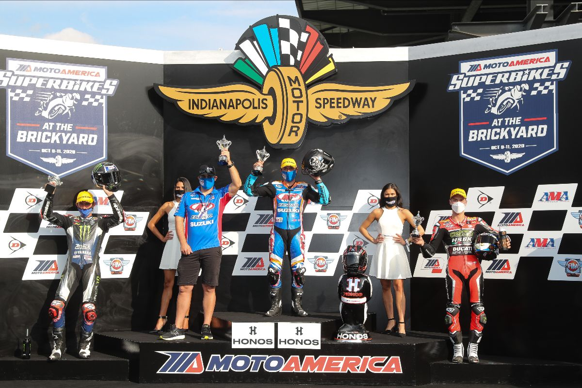 201011 (From left to right) Jake Gagne, Bobby Fong and Lorenzo Zanetti celebrate on the podium at The Brickyard