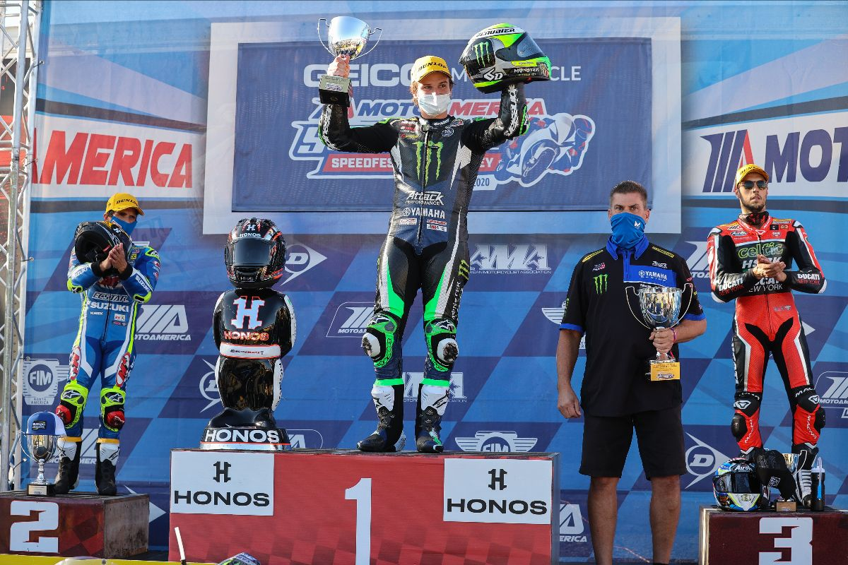 201026 (From left to right) Toni Elias, Cameron Beaubier, Jeff Beaubier and Lorenzo Zanetti celebrate at Laguna Seca