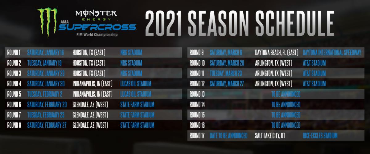 201027 Monster Energy Supercross 2021 Schedule Announced