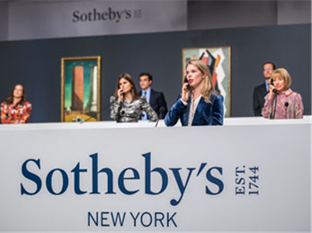 201029 Specialists taking bids in Sotheby's New York salesroom (Credit – © 2020 Courtesy of Sotheby's)