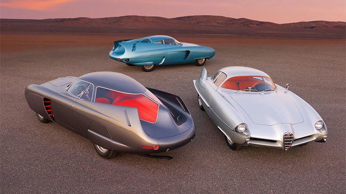 A group shot of the Alfa Romeo Berlina Aerodinamica Tecnica Concepts (Credit – Ron Kimball © 2020 Courtesy of RM Sotheby's) (678.1)