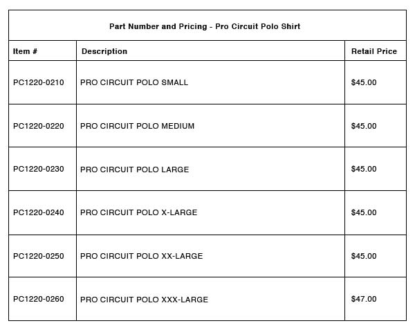 201109 Pro Circuit Polo Shirt - Part-Number-Pricing-R-6-A