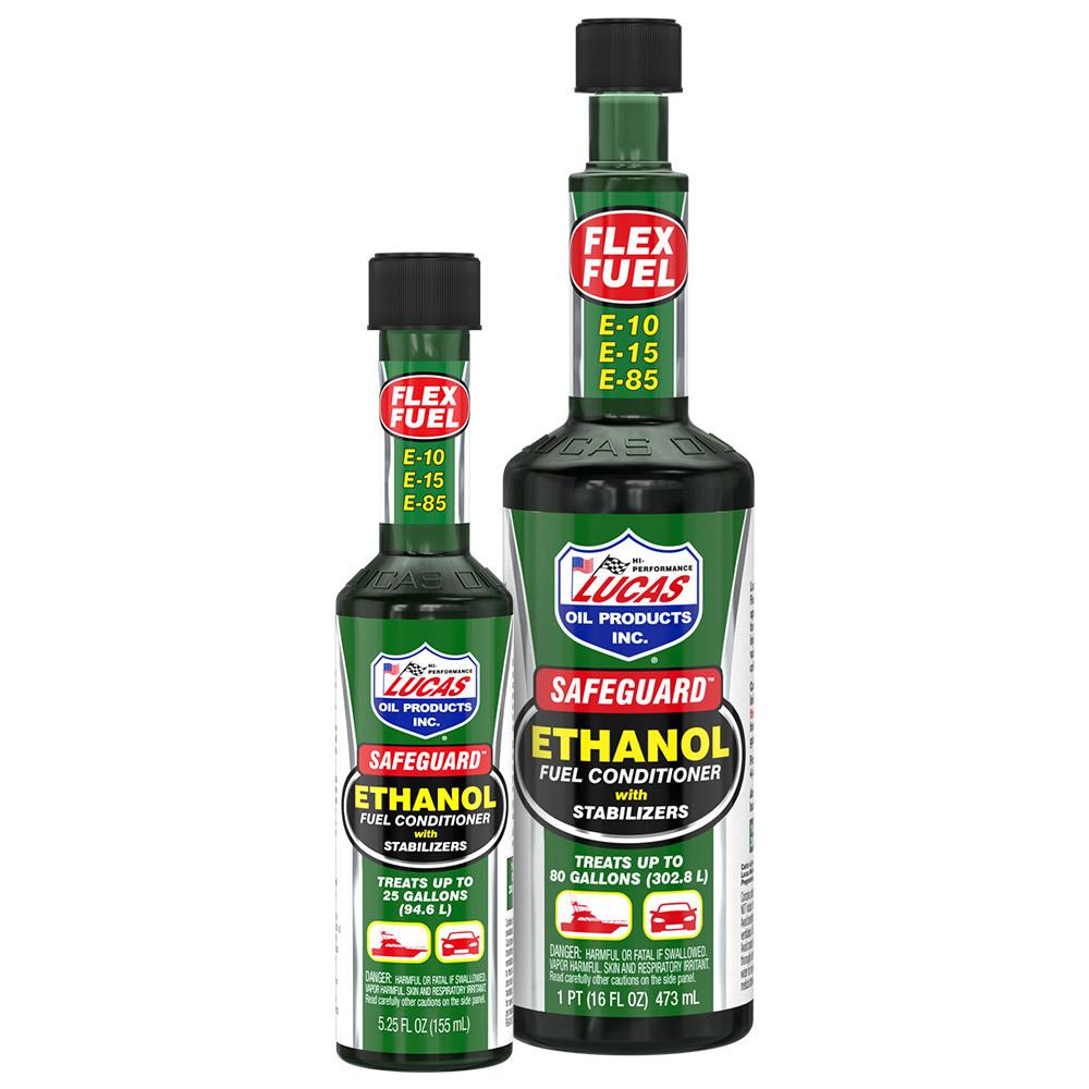 201110 Lucas Oil Safeguard™ Ethanol Fuel Conditioner with Stabilizers - Part #10670 (5.25 oz.), #10576 (16 oz.)