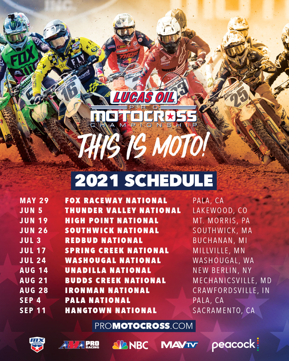 21012 12-Round Schedule for 2021 Lucas Oil Pro Motocross Championship