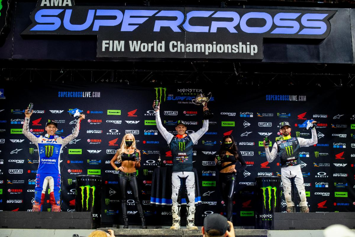 250SX Class podium (riders left to right) Austin Forkner, Christian Craig, and Colt Nichols. Photo Credit- Feld Entertainment, Inc.