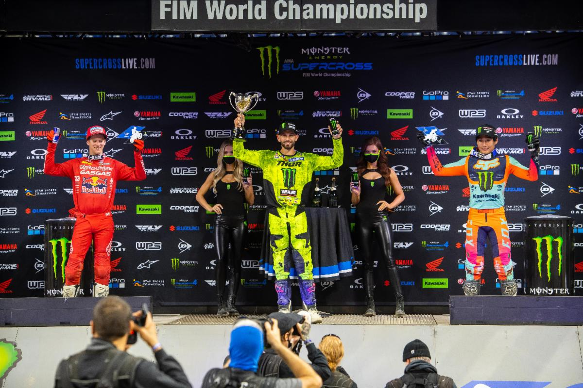 250SX Class podium (riders left to right) Michael Mosiman, Colt Nichols, and Jo Shimoda