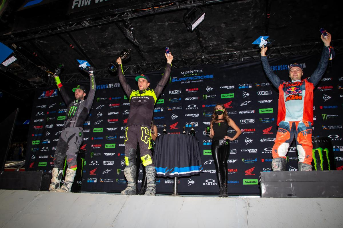450SX Class podium (riders left to right) Eli Tomac, Ken Roczen, and Cooper Webb.