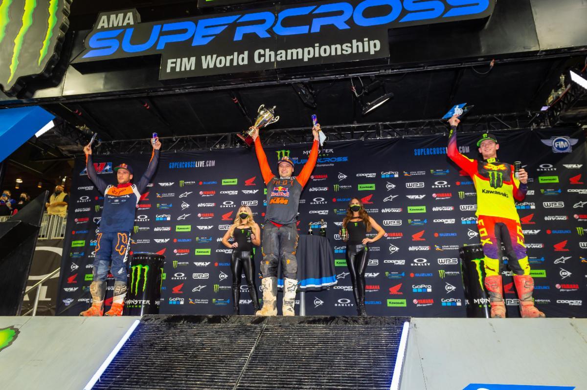 450SX Class podium (riders left to right) Ken Roczen, Cooper Webb, Adam Cianciarulo