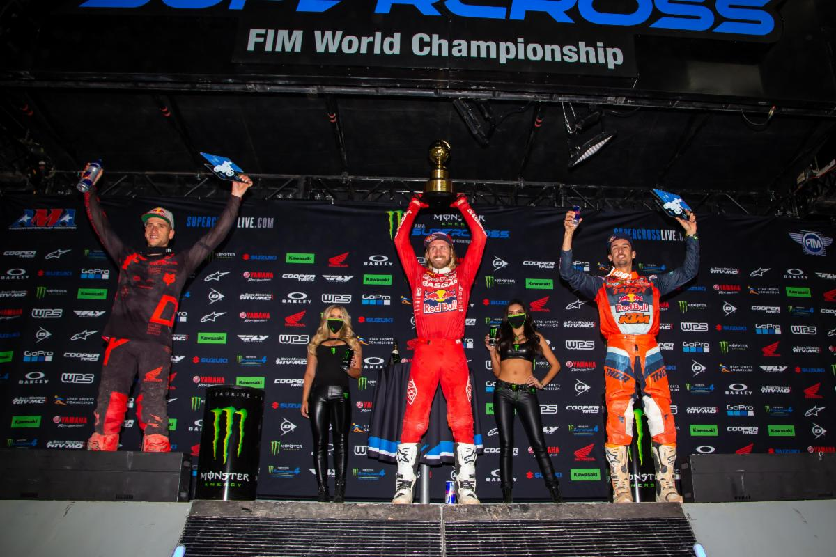 450SX Class podium (riders left to right) Ken Roczen, Justin Barcia, and Marvin Musquin. Photo Credit- Feld Entertainment, Inc