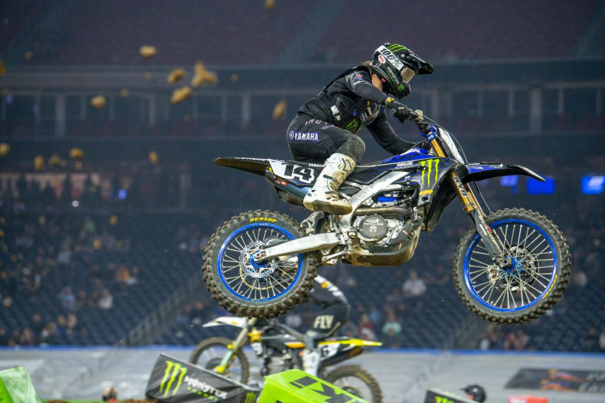 Dylan Ferrandis, in his second 450SX Class race, fought through the pack to earn second place at the second Houston Supercross of 2021