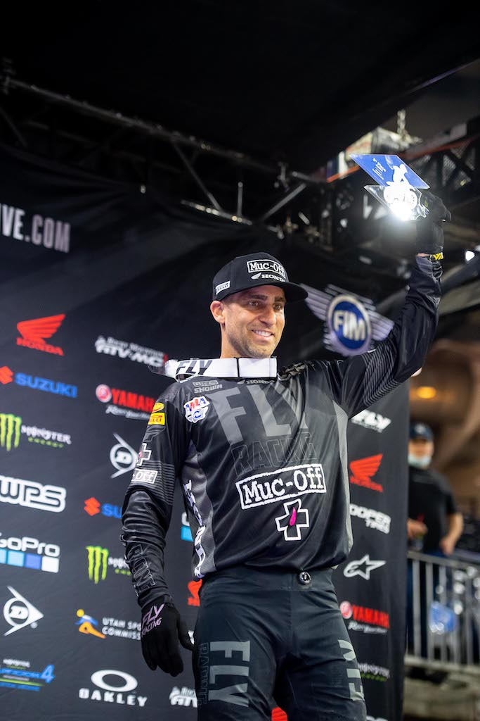 The third place finish marked the ninth 450SX podium of Brayton's career