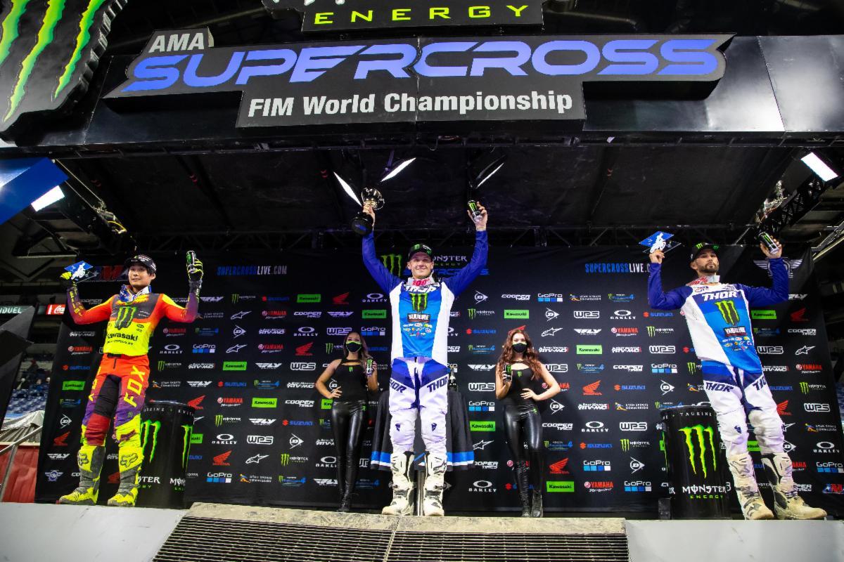 250SX Class podium - Monster Energy Supercross Indy 3