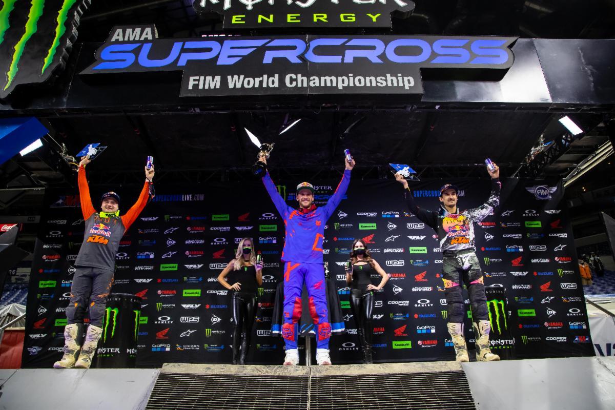450SX Class podium - Monster Energy Supercross Indy 3