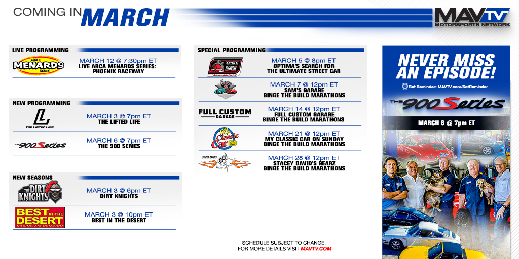 210301 MAVTV March Broadcast Schedule