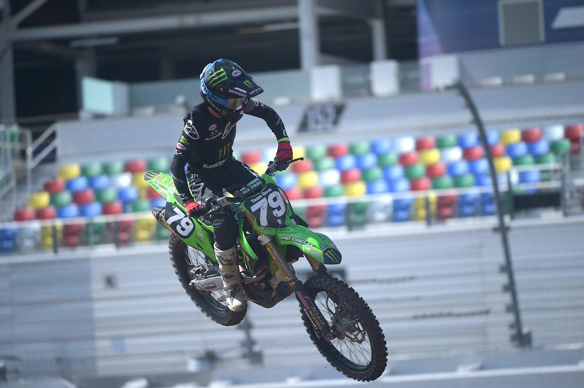 Kawasaki rider Jett Reynolds captured the Supercross Futures win on Monday