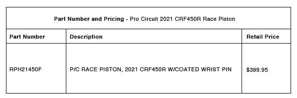 210429 Pro Circuit 2021 CRF450R Race Piston - Part-Number-Pricing-R-1