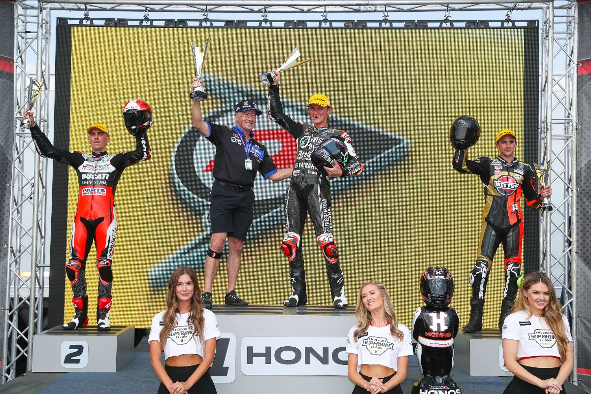 210524 (From left to right) Loris Baz, Jake Gagge and Mathew Scholtz celebrate their 1-2-3 finishes in HONOS Superbike race two at VIR