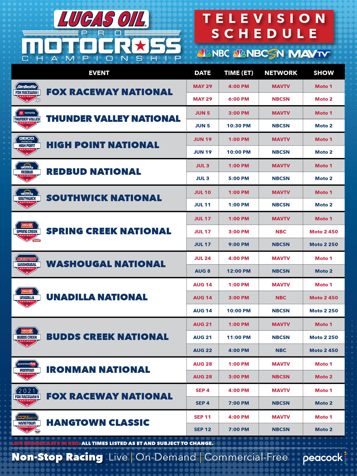 210526 2021 Lucas Oil Pro Motocross Championship TV schedule