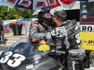 Brothers and Harley-Davidson Screamin' Eagle factory teammates Kyle (right) and Travis Wyman celebrate their 1-2 finish