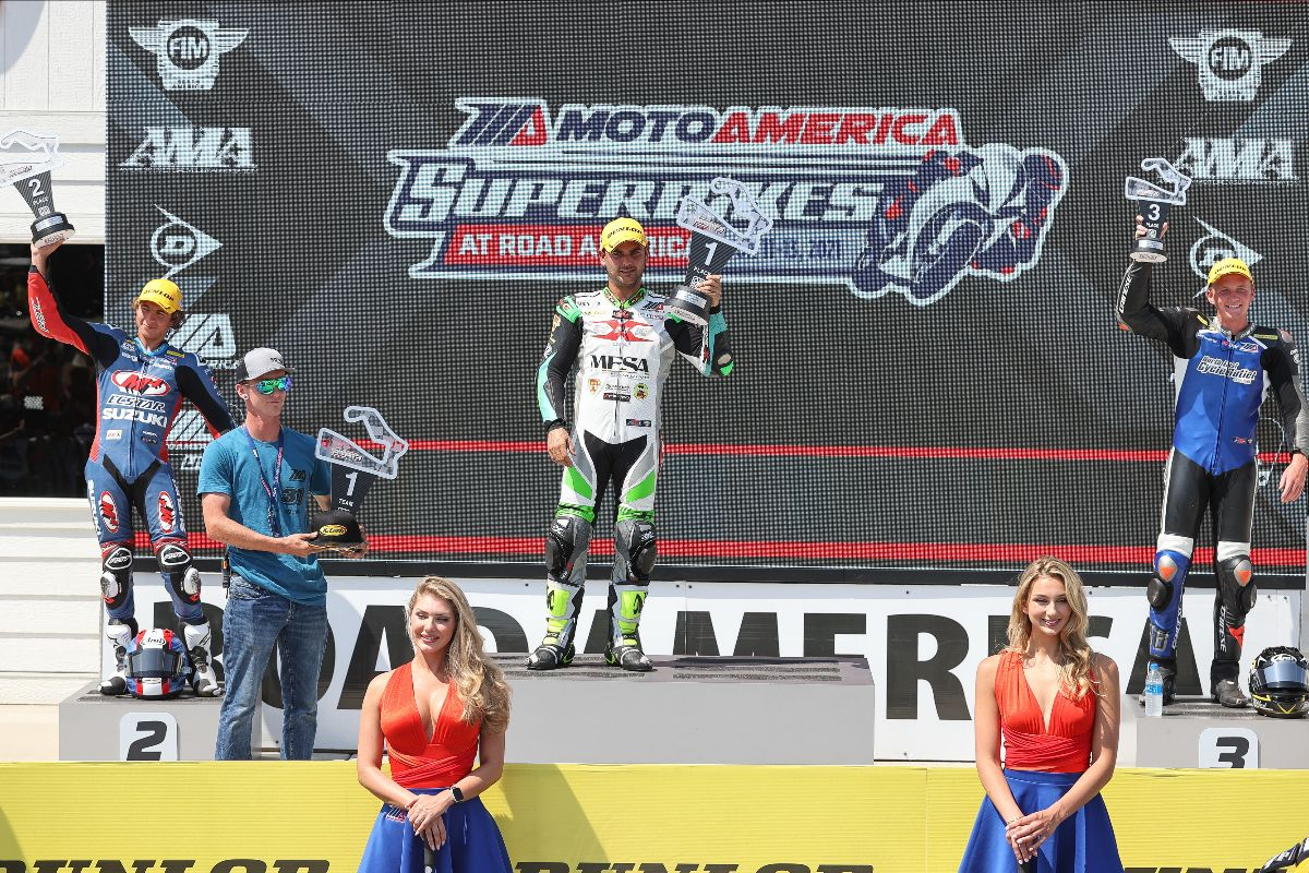 120613 Fresh faces on the Supersport podium- (From left to right) Sam Lochoff, Stefano Mesa and Benjamin Smith