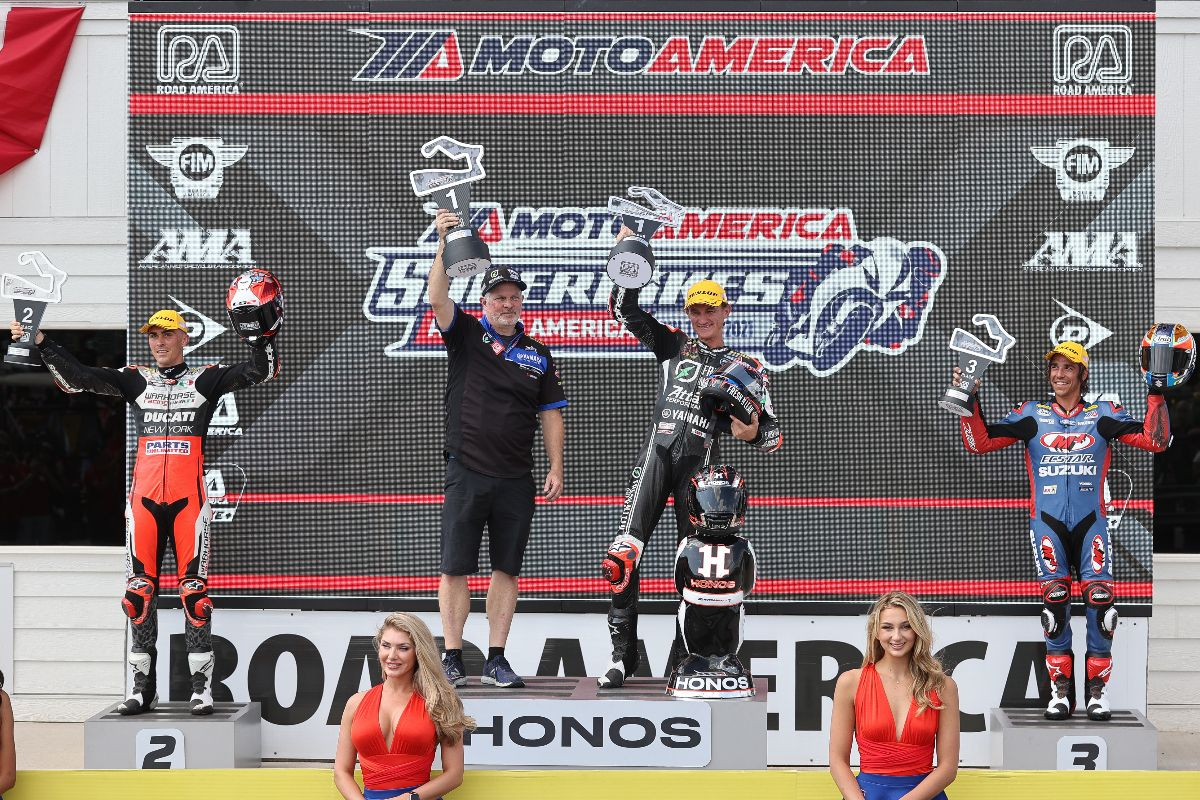 210613 (From left to right) Loris Baz, Jake Gagne and Cam Petersen celebrate after the HONOS Superbike race