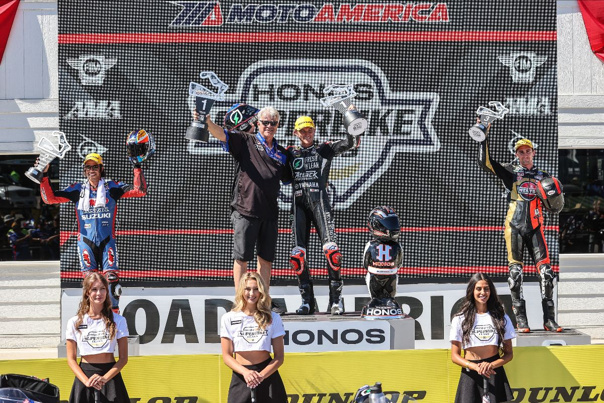 210614 (From left to right) Cameron Petersen, Jake Gagne and Mathew Scholtz celebrate their 1-2-3 finishes in HONOS Superbike race two at Road America