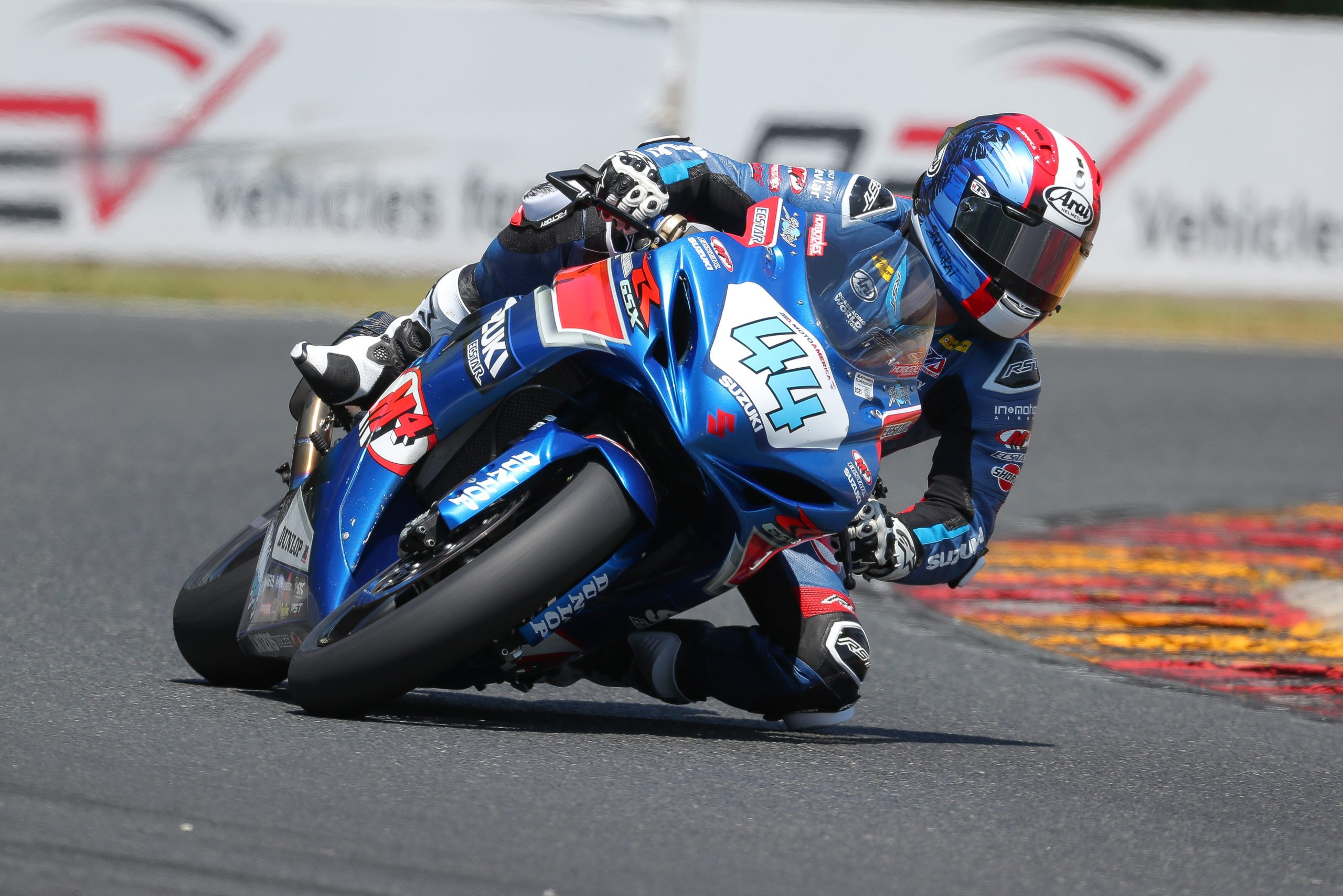 210614 Sam Lochoff (44) took his first podium finish in the Supersport class on his Suzuki GSX-R600