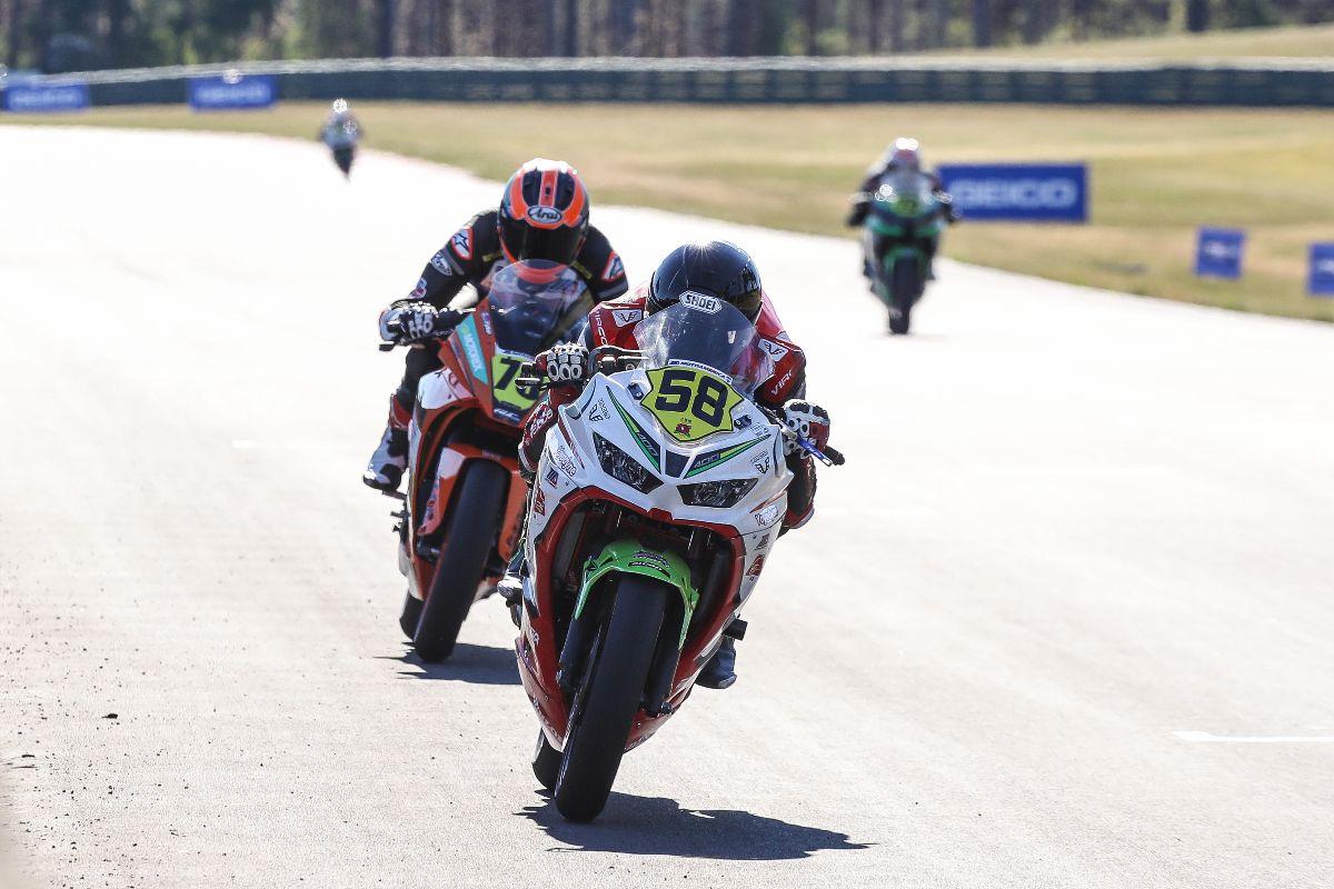 210627 Max Toth (58) won his first career SportbikeTrackGear.com Junior Cup race on Saturday at Ridge Motorsports Park