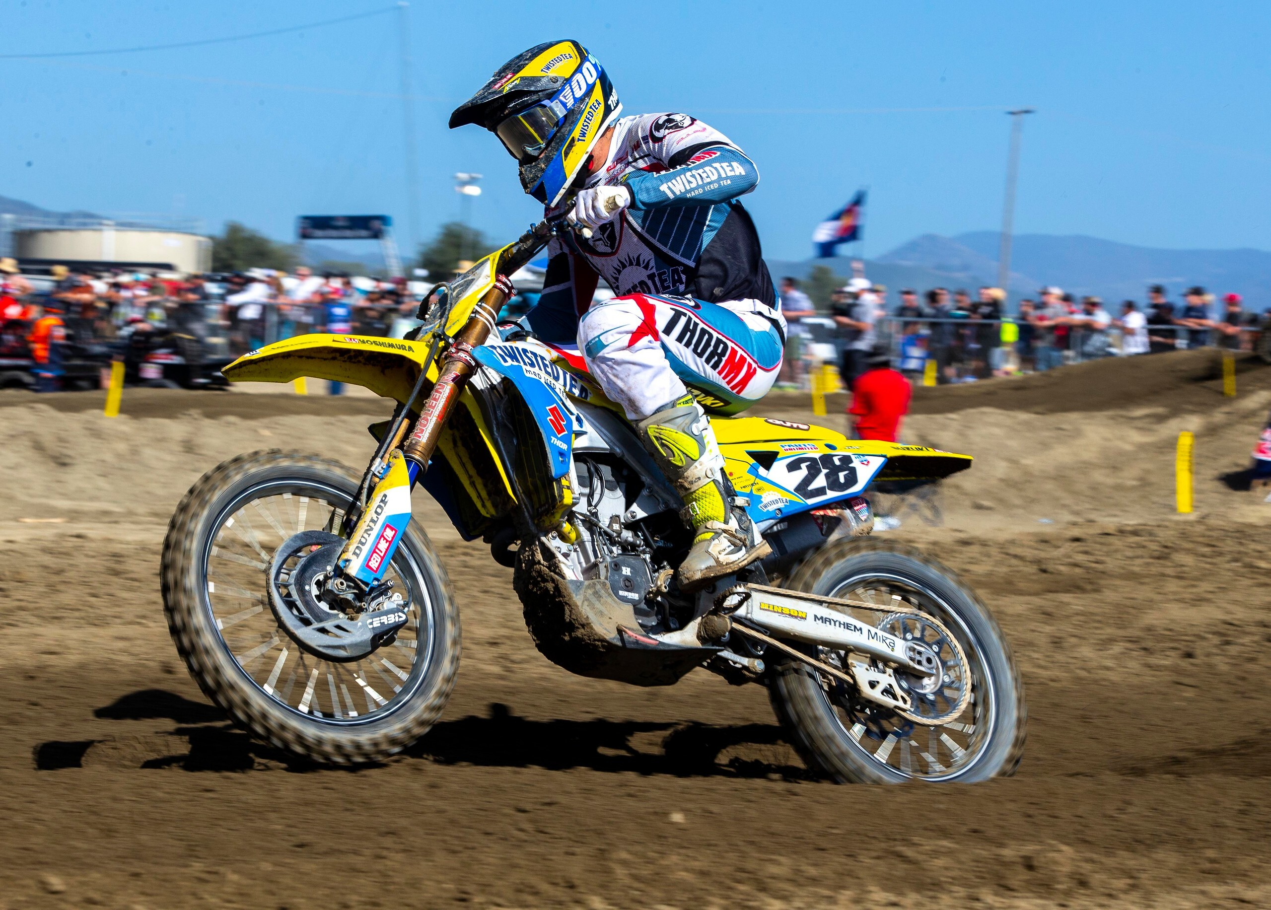 Brandon Hartranft (28) raced hard in the first motocross race of 2021 on his Suzuki RM-Z450