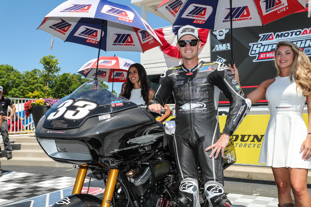 Kyle Wyman (#33) set pole position, posted the quickest lap of the race, led every lap, and took the MotoAmerica King of the Baggers win at Road America. Photo Credit- Brian J. Nelson