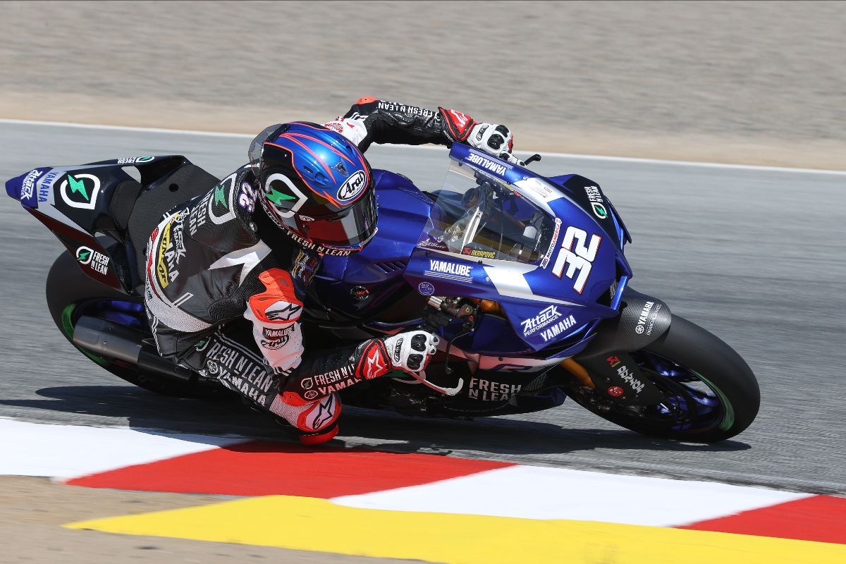 210710 Jake Gagne was again the fastest of the HONOS Superbike men on Friday at WeatherTech Raceway Laguna Seca