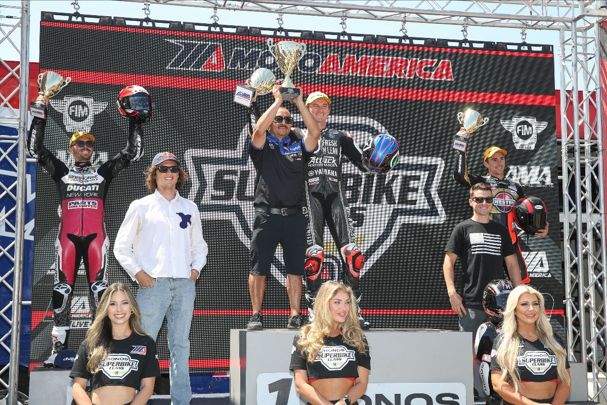 210712 Joe Roberts (left) and Cameron Beaubier (right) joined Loris Baz, Jake Gagne and Mathew Scholtz on the podium