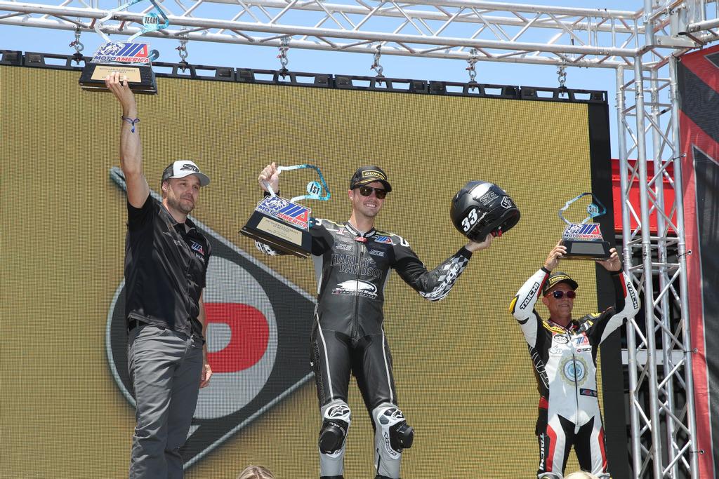Factory Harley-Davidson rider, #33 Kyle Wyman, won the MotoAmerica King of the Baggers race and championship title at Laguna Seca Raceway (1)