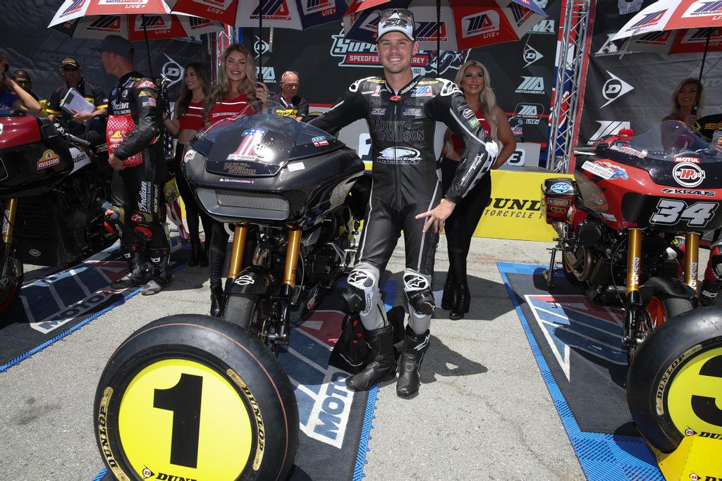 Factory Harley-Davidson rider, #33 Kyle Wyman, won the MotoAmerica King of the Baggers race and championship title at Laguna Seca Raceway