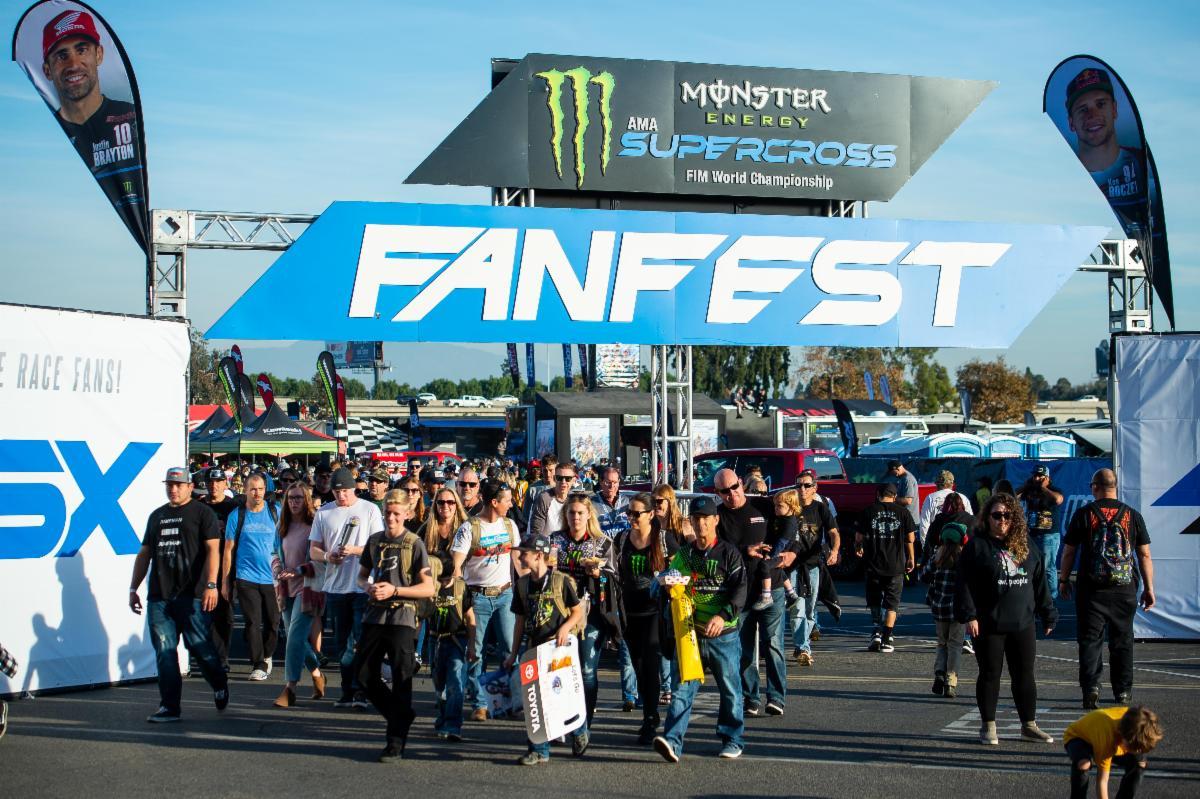 Fans attending FanFest at the 2020 Anaheim Opener at Angel Stadium of Anaheim