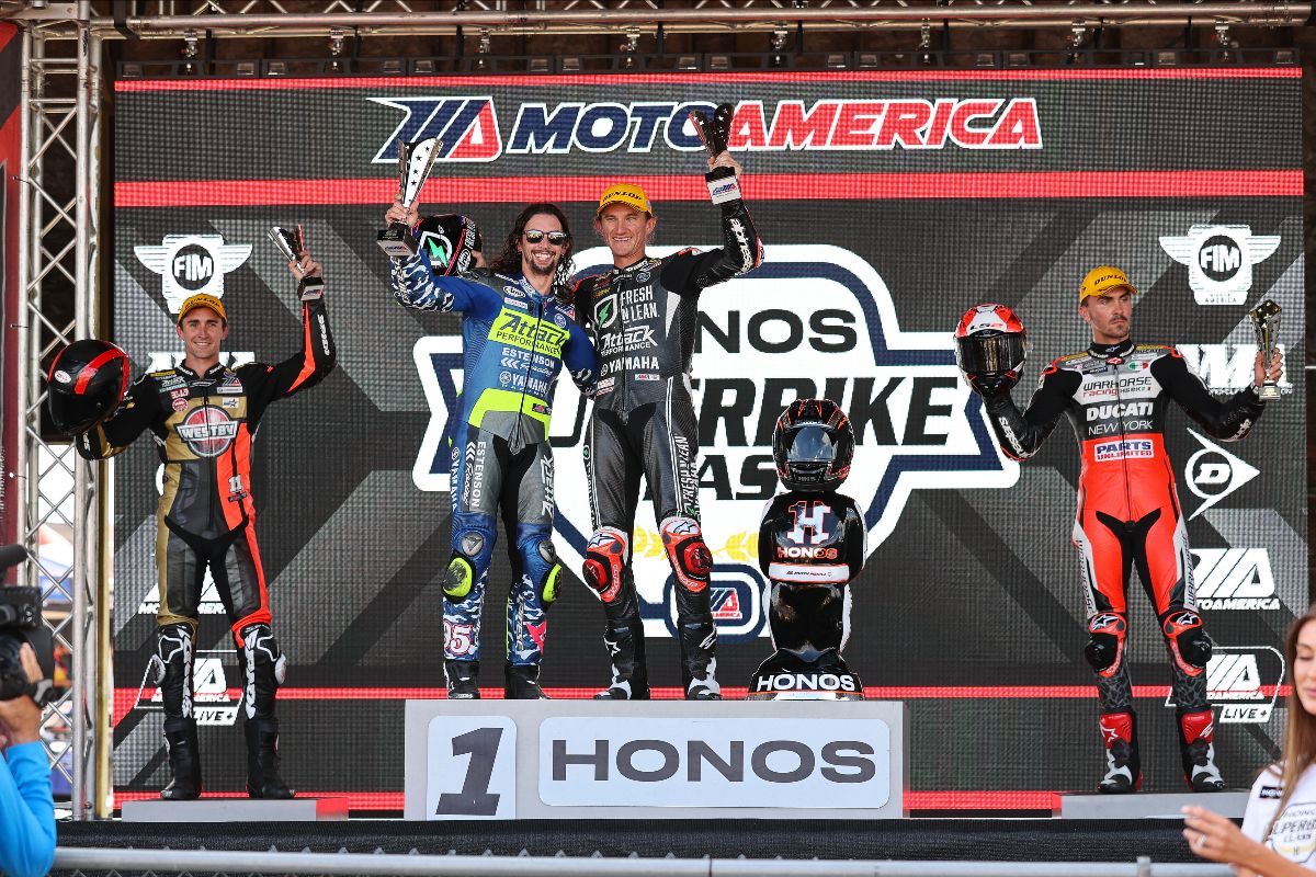 210801 JD Beach joined Gagne on the podium to accept the team award. Those two are joined by Mathew Scholtz and Loris Baz