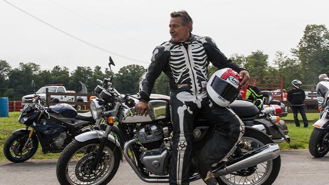 210804 AMA Motorcycle Hall of Famer David Aldana sporting his iconic skeleton leathers (678)