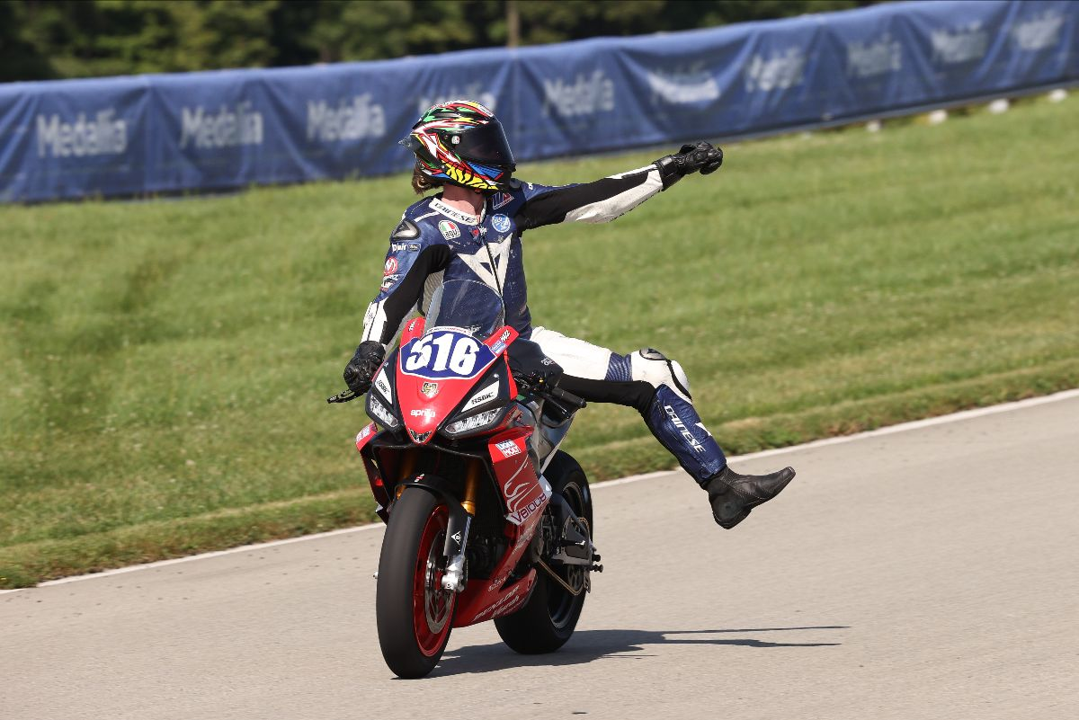 Anthony Mazziotto celebrates his victory in the Twins Cup race on Saturday at Pitt Race.