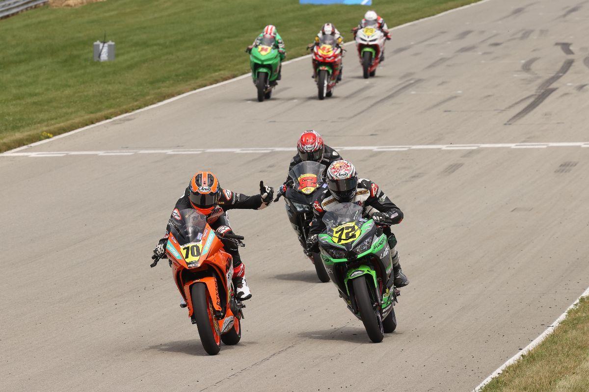 210816 Tyler Scott (70) beat Ben Gloddy (72) by just .061 of a second to win the SportbikeTrackGear.com Junior Cup race