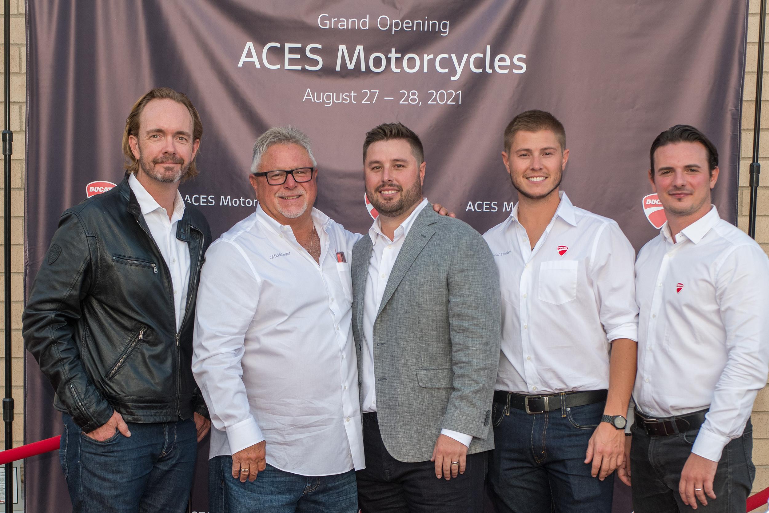 J. Chinnock (CEO DNA), K. Dimick (ACES Motorcycles President), D. Dimick (ACES Motorcycles General Manager), C. Dimick, F. Esposito (RBM DNA)